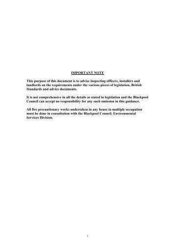 Guidance on Fire Precautions - Blackpool Council