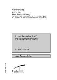 nebst Rahmenlehrplan - Maschinenbau Kaltenbach GmbH