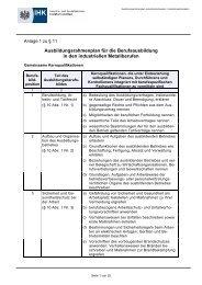 Ausbildungsrahmenplan Industriemechaniker / Industriemechanikerin