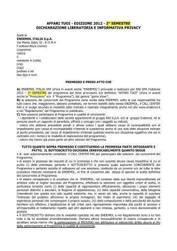 AFFARI TUOI - EDIZIONE 2012 - 2° SEMESTRE ... - Endemol