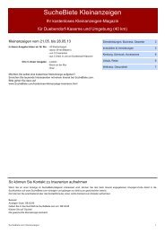 SucheBiete Kleinanzeigenzeitung Dübendorf Kaserne - Kostenlose ...