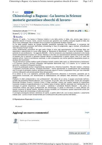 Chinesiologi a Ragusa: «La laurea in Scienze motorie ... - Cna