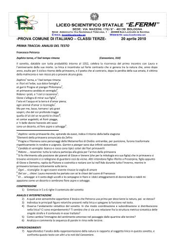 """Italiano - Liceo Scientifico Statale """"E. Fermi"""" - Bologna"""