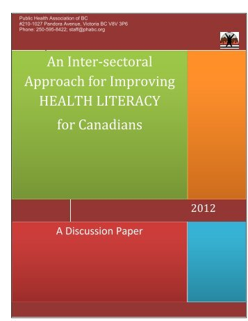 An Inter‐sectoral Approach for Improving HEALTH LITERACY for Canadians