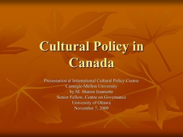 Cultural Policy in Canada - Faculty of Social Sciences