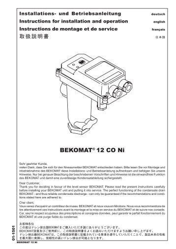 BEKOMAT® 12 CO Ni - BEKO TECHNOLOGIES GmbH