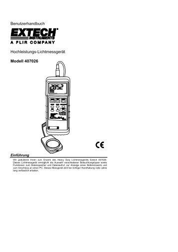 Benutzerhandbuch Hochleistungs-Lichtmessgerät Modell 407026