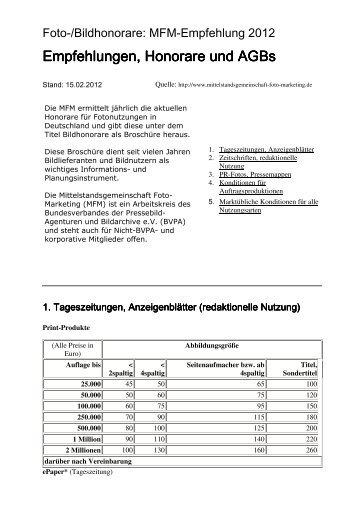 Tabelle für Bildhonorare