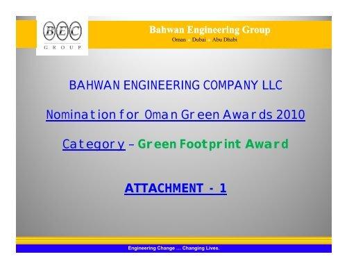 BAHWAN ENGINEERING COMPANY LLC Nomination for Oman