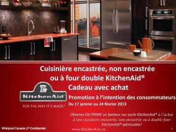 Cuisinière encastrée, non encastrée ou à four double KitchenAid ...