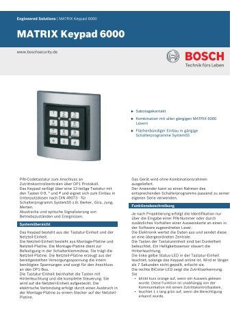 MATRIX Keypad 6000 - Bosch Security Systems