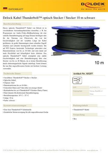 Delock Kabel Thunderbolt™ optisch Stecker / Stecker 10 m schwarz