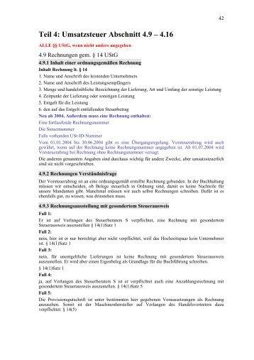 Teil 4: Umsatzsteuer Abschnitt 4.9,