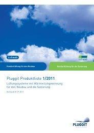 Pluggit Produktliste 1/2011
