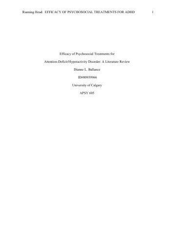 Efficacy of Psychosocial Treatments for ADHD - Dianne Ballance ...