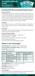 Wirtschaftspsychologie aktuell Die Zeitschrift Wirtschaftspsychologie ...