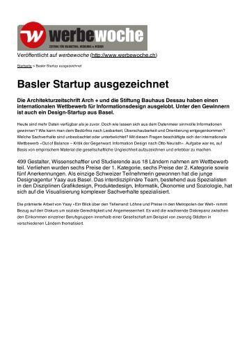 Werbewoche 26.04.2013 Basler Startup ausgezeichnet (pdf) - YAAY