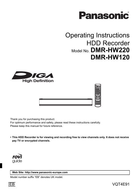 Operating Instructions HDD Recorder DMR-HW120 - CCL Computers