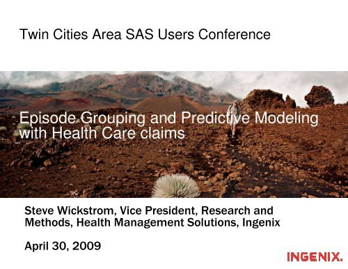 Episode Grouping and Predictive Modeling with Health Care claims