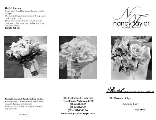 Bridal Brochure - Nancy Taylor Skin Therapy & Day Spa