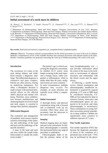 Initial assessment of a neck mass in children - De website van NKO ...