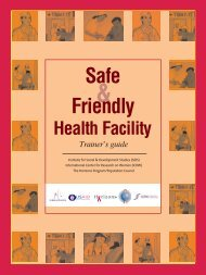 Safe and Friendly Health Facility: Trainer's Guide - Population Council
