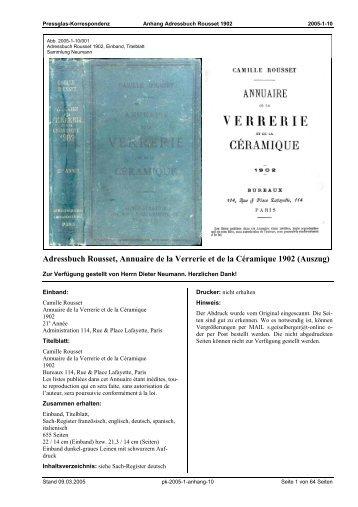 Adressbuch Rousset, Annuaire de la Verrerie et de la Céramique ...
