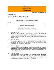 MALAYSIA DEWAN NEGARA ORDER PAPER http://www.parlimen ...