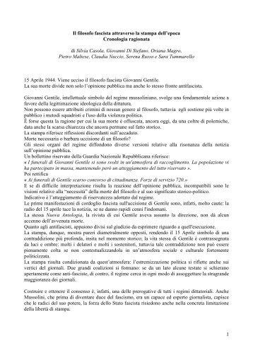 il filosofo fascista Giovanni Gentile viene ucciso - Liceo magistrale