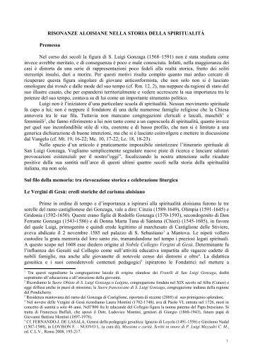 risonanze aloisiane nella storia della spiritualitá - santuario di San ...