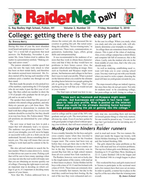 Oswego County Today >> Raidernet Daily Pdf Oswego County Today