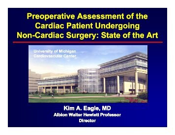 Preoperative Assessment of the Cardiac Patient Undergoing ...