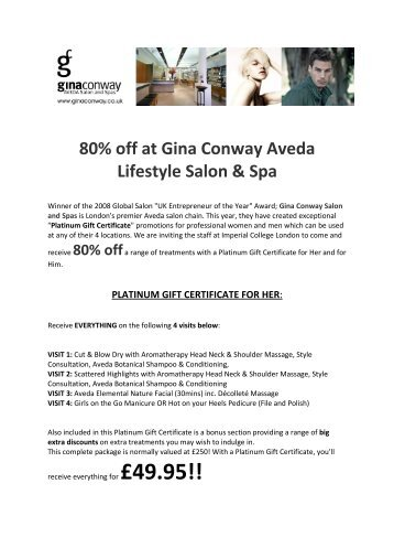 80% off at Gina Conway Aveda Lifestyle Salon & Spa - Workspace ...
