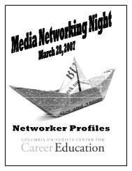 Networker Profiles - Center for Career Education - Columbia University