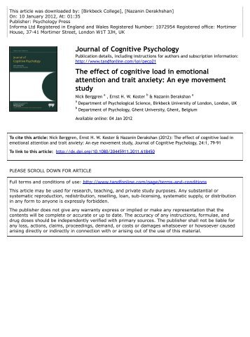 The effect of cognitive load in emotional attention ... - Birkbeck College