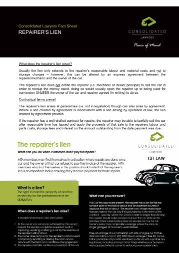 REPAIRER'S LIEN - Consolidated Lawyers