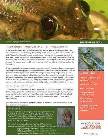 Greetings FrogWatch USA™ Volunteers - Association of Zoos and ...