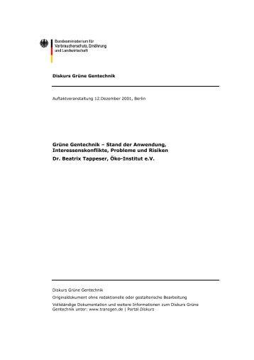 Gliederung Vortrag Berlin Diskurs Grüne Gentechnik - transGEN