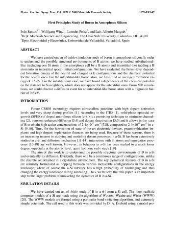 First Principles Study of Boron in Amorphous Silicon Iván Santos1,2 ...