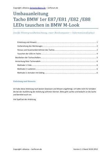 Umbauanleitung Tacho BMW 1er E87/E82 - LEDs tauschen in BMW ...
