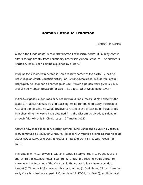 Download: Roman Catholic Tradition pdf - James G  McCarthy