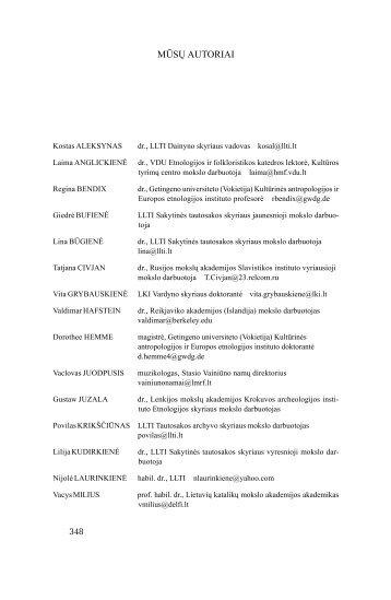 MŪSŲ AUTORIAI - Lietuvių literatūros ir tautosakos institutas