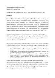 Sammenheng mellom språk og atferd?, (Rapport fra pilotprosjekt)