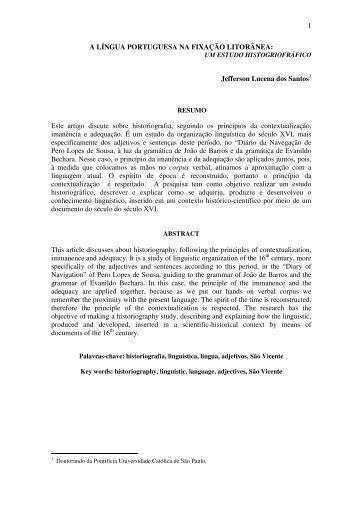 a língua portuguesa na fixação litorânea - Universidade ...