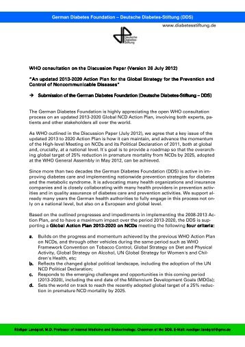 DDS Statement on WHO Disc P on Global NCD AP ... - NCD Alliance