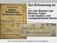 Zur Erinnerung an...–von den Büchern der Berliner Juden in der ...