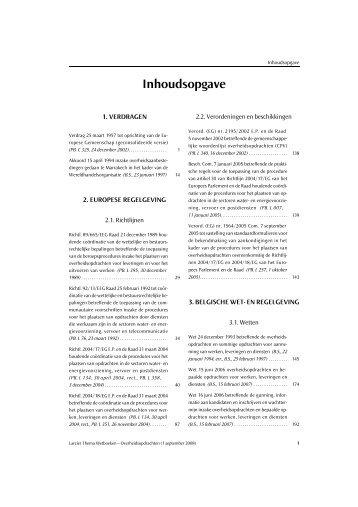 Inhoudsopgave - Uitgeverij Larcier