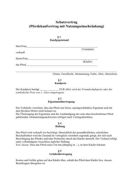 Schutzvertrag Pferdekaufvertrag Mit Nutzungseinschrankung
