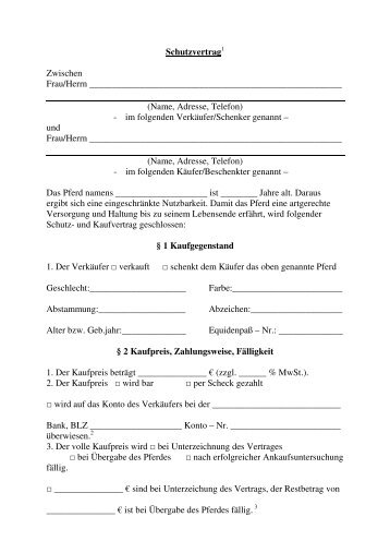Schutzvertrag Zwischen Frau/Herrn (Name, Adresse, Telefon) - im ...