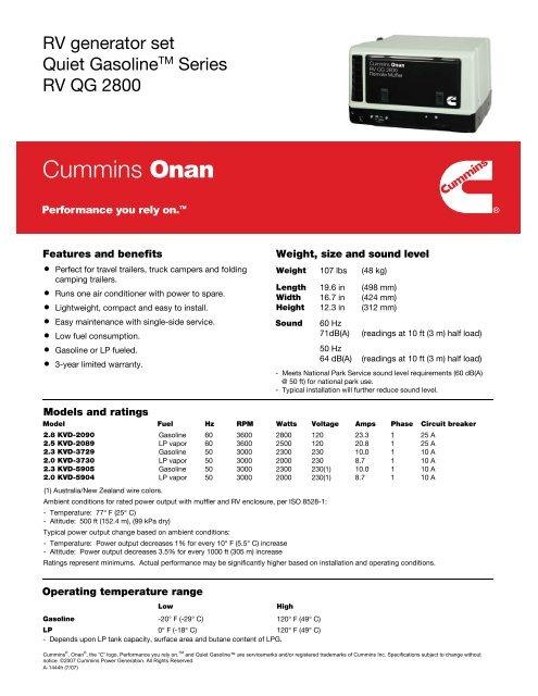 RV generator set Quiet GasolineTM Series RV QG     - Cummins